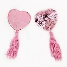 Пэстис сердце пайетки розовый