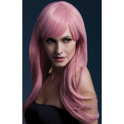 Парик длинные розовый