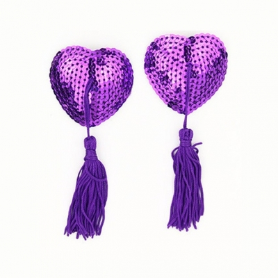 Пэстис сердце пайетки фиолетовый