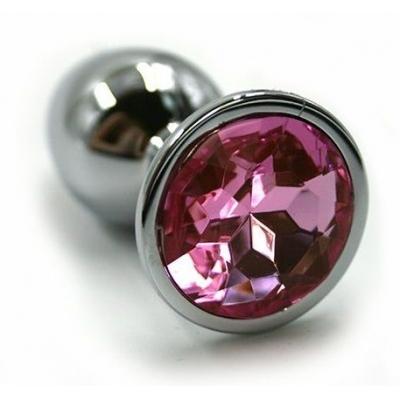 Серебряная анальная пробка для ношения с нежно-розовым кристаллом (Small)
