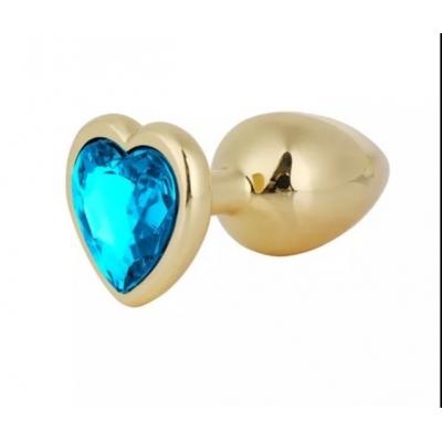 Золотистая пробка сердце с синим кристаллом S