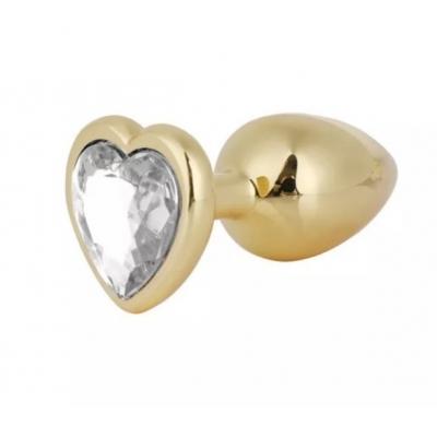 Золотистая пробка сердце с прозрачным кристаллом S