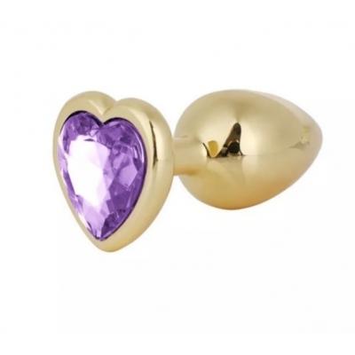 Золотистая пробка сердце с фиолетовым кристаллом S