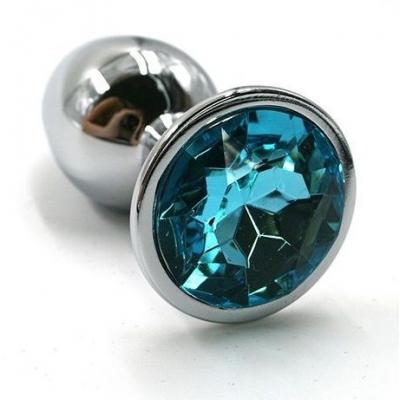 Металлическая пробка с голубым кристаллом