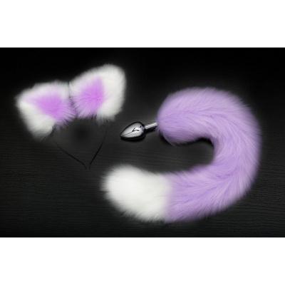Анальная пробка с хвостом и ушками серебристый/фиолетово-белый