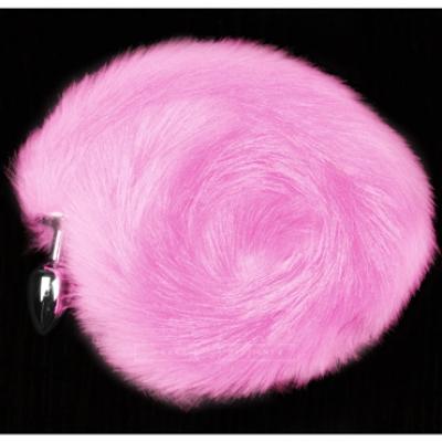 Анальная пробка с хвостом серебристый/розовый