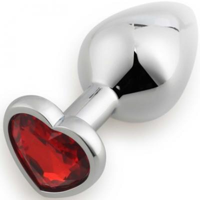 Серебристая анальная пробка с красным стразиком-сердечком M