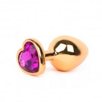 Золотистая анальная пробка с фиолетовым стразиком-сердечком