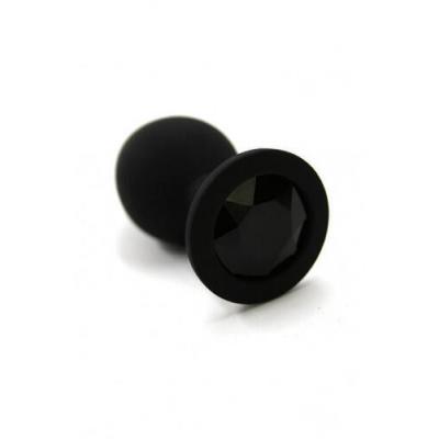 Черная анальная пробка из силикона с черным кристаллом (Medium)