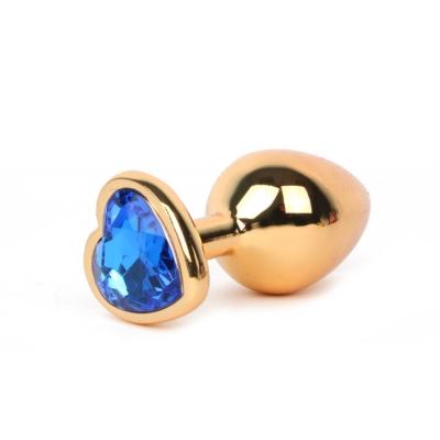 Золотистая анальная пробка с синим стразиком-сердечком
