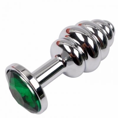 Ребристая металлическая пробка с зеленым кристаллом S