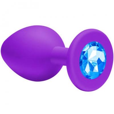 Анальная пробка с голубым кристаллом Lola Toys Small