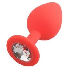 Красная силиконовая пробка с прозрачным кристаллом Medium