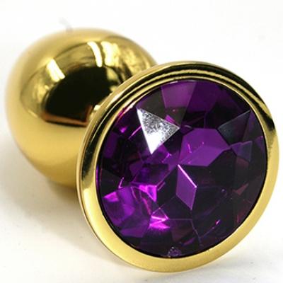 Золотая пробка с фиолетовым кристаллом