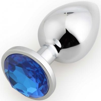 Runyu Rosebud Butt Plug Large, серебристый/синий. Большая анальная пробка с кристаллом