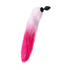 Анальная втулка с бело-розовым хвостом POPO Pleasure
