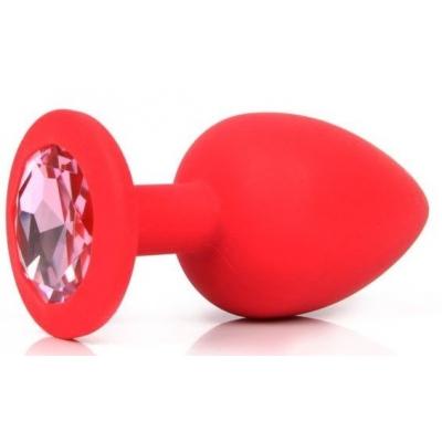Красная пробка со светло-розовым кристаллом