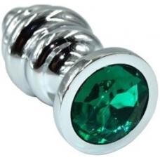 Серебристая ребристая пробка с зеленым кристаллом Medium