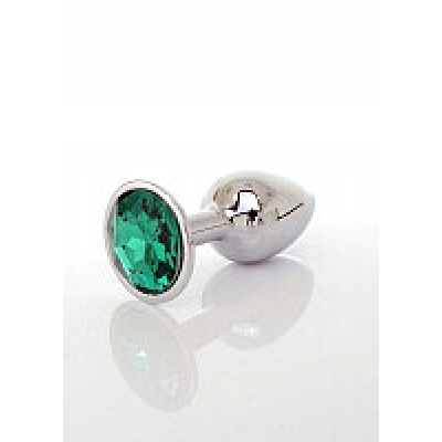 Серебристая ребристая пробка с темно-зеленым кристаллом Small