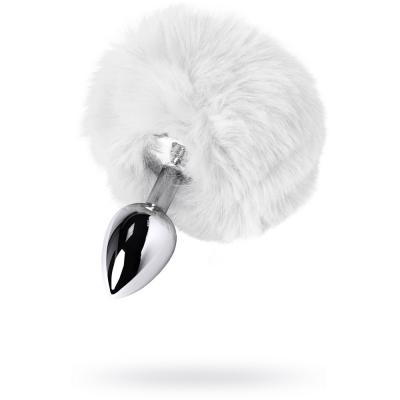 Серебряная анальная пробка с белым заячьим хвостиком (Small)