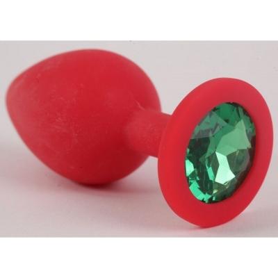 Красная силиконовая пробка с темно-зеленым кристаллом S