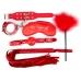 Набор БДСМ красный (наручники, маска, кляп, плеть, щекоталка с пухом)