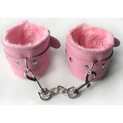 Наручники розовые кожа