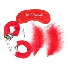 Набор БДСМ красный (наручники, маска, перо)