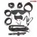 Набор БДСМ черный (наручники, оковы, маска, кляп, плеть, ошейник с поводком, верёвка, зажимы для сосков)