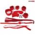 Набор БДСМ красный (наручники, оковы, маска, кляп, плеть, ошейник с поводком, верёвка, зажимы для сосков)