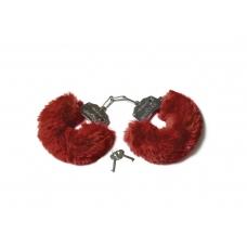 Шикарные наручники с пушистым мехом винного цвета Le Frivole