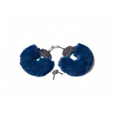 Шикарные наручники с пушистым мехом цвета тихоокеанский синий Le Frivole