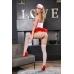 Костюм медсестры Elawin (платье с пажами для чулок, головной убор, стринги и чулки), бело-красный, L