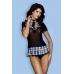 Костюм школьницы Candy Girl Micki (топ, галстук, стринги), черно-синий, OS