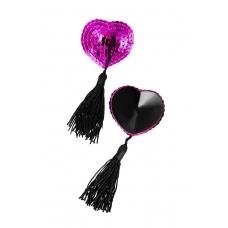Пэстис в форме сердец с кисточками ярко-розово-черные Erolanta