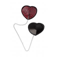 Пэстис в форме сердец со стразами и цепочкой черно-красные Erolanta
