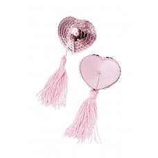 Пэстис в форме сердец с кисточками розовые Erolanta