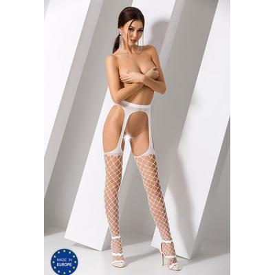 Чулки с поясом белые в крупную сетку с имитацией пояса (Passion) (S-XXL)