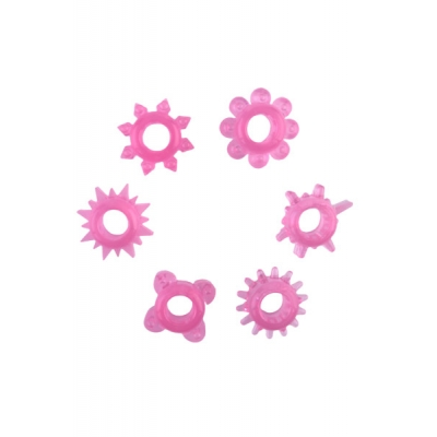 Набор колец на пенис 6 шт розовый TOYFA