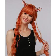 Парик светло рыжий длинные волнистые волосы с челкой