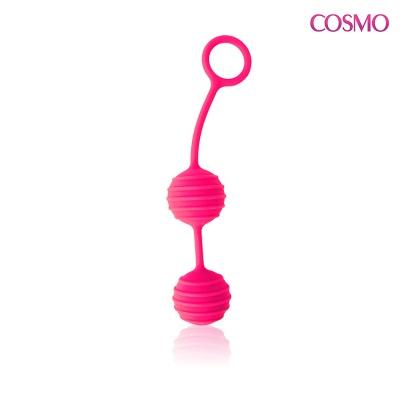 Вагинальные шарики с ребрышками розовый неон D 31 мм
