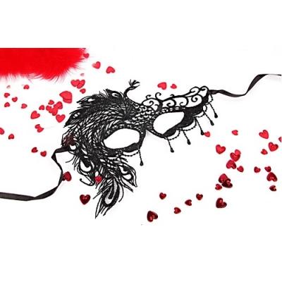 """МАСКА АЖУРНАЯ """"МИЛЕНА"""" цвет чёрный, текстиль арт. EE-20368"""