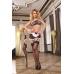 Костюм горничной Candy Girl (топ, юбка с пажами, стринги, чулки, манжета), черно-белый, OS