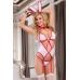 Костюм зайки Candy Girl (корсет, стринги, чулки, галстук-бабочка, ушки), бело-розовый, OS