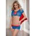 Костюм супервуман Candy Girl (топ, юбка, стринги), сине-красный, OS