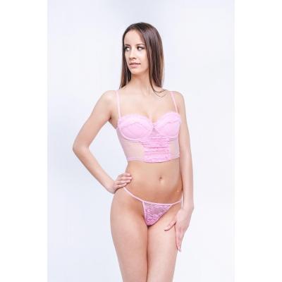 Корсет и стринги Erolanta Lingerie Collection, розовые, M (без упаковки)