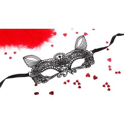 """МАСКА АЖУРНАЯ """"КЭТТИ"""" цвет чёрный, текстиль арт. EE-20361"""